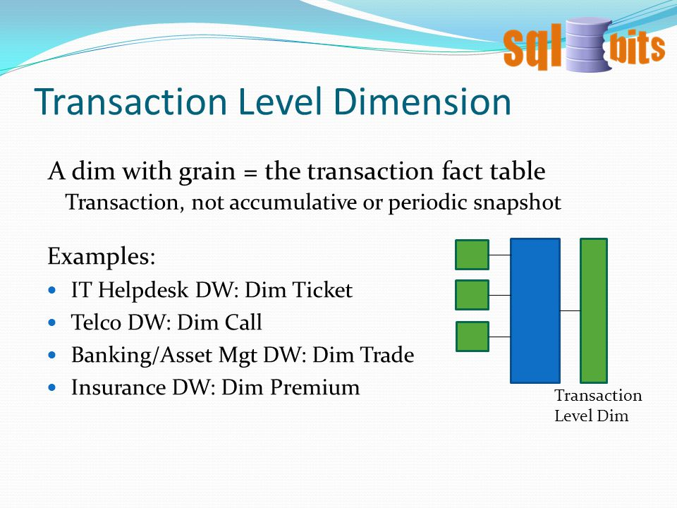 Transaction Level Dimension A dim with grain = the transaction fact table Transaction, not accumulative or periodic snapshot Examples: IT Helpdesk DW: Dim Ticket Telco DW: Dim Call Banking/Asset Mgt DW: Dim Trade Insurance DW: Dim Premium Transaction Level Dim
