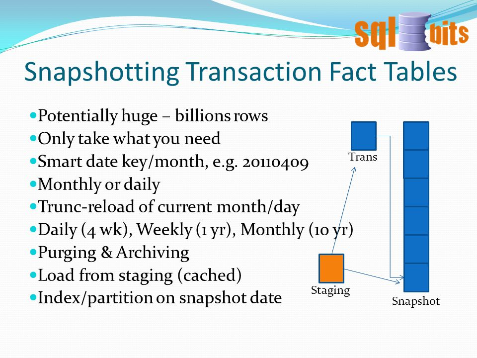 Snapshotting Transaction Fact Tables Potentially huge – billions rows Only take what you need Smart date key/month, e.g.
