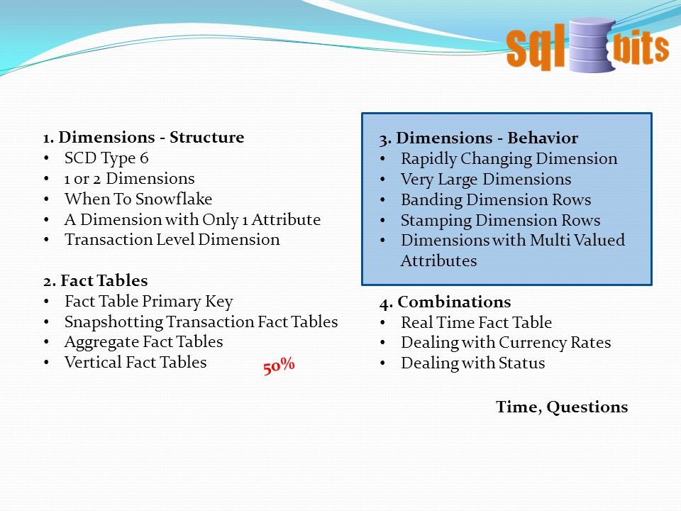 1. Dimensions - Structure SCD Type 6 1 or 2 Dimensions When To Snowflake A Dimension with Only 1 Attribute Transaction Level Dimension 2. Fact Tables