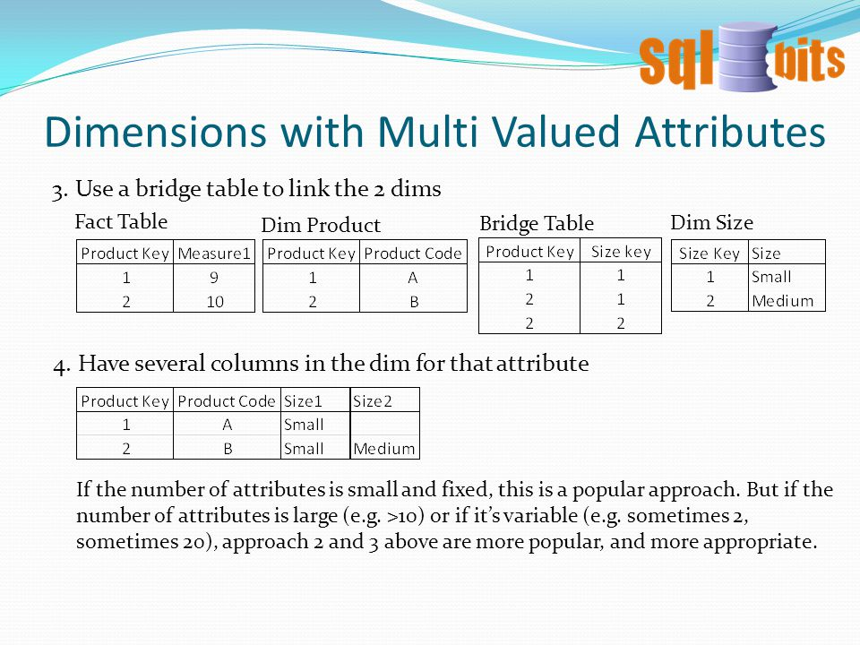 Dimensions with Multi Valued Attributes 3.