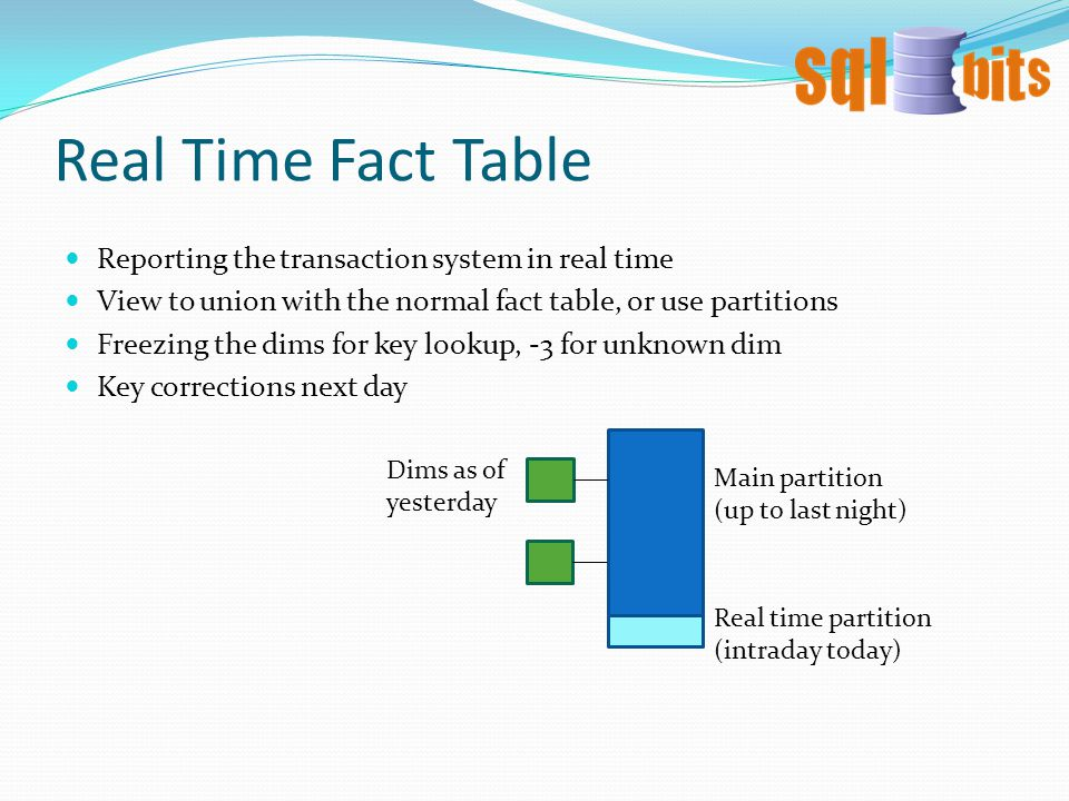 Real Time Fact Table Reporting the transaction system in real time View to union with the normal fact table, or use partitions Freezing the dims for key lookup, -3 for unknown dim Key corrections next day Real time partition (intraday today) Dims as of yesterday Main partition (up to last night)