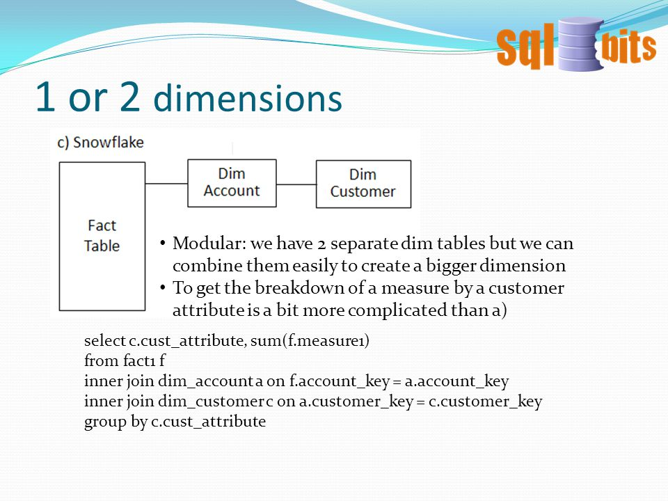 1 or 2 dimensions Modular: we have 2 separate dim tables but we can combine them easily to create a bigger dimension To get the breakdown of a measure by a customer attribute is a bit more complicated than a) select c.cust_attribute, sum(f.measure1) from fact1 f inner join dim_account a on f.account_key = a.account_key inner join dim_customer c on a.customer_key = c.customer_key group by c.cust_attribute