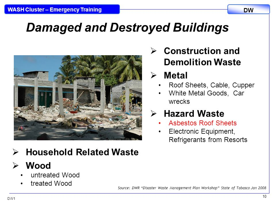 DW WASH Cluster – Emergency Training DW1 10 Damaged and Destroyed Buildings  Construction and Demolition Waste  Metal Roof Sheets, Cable, Cupper White Metal Goods, Car wrecks  Hazard Waste Asbestos Roof Sheets Electronic Equipment, Refrigerants from Resorts  Household Related Waste  Wood untreated Wood treated Wood Source: DWR Disaster Waste Management Plan Workshop State of Tabasco Jan 2008