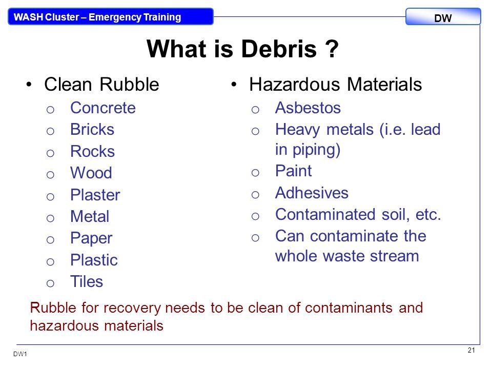 DW WASH Cluster – Emergency Training DW1 21 What is Debris .