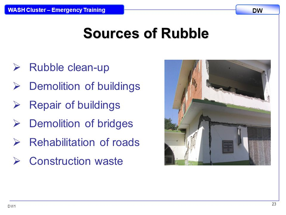 DW WASH Cluster – Emergency Training DW1 23 Sources of Rubble  Rubble clean-up  Demolition of buildings  Repair of buildings  Demolition of bridges  Rehabilitation of roads  Construction waste