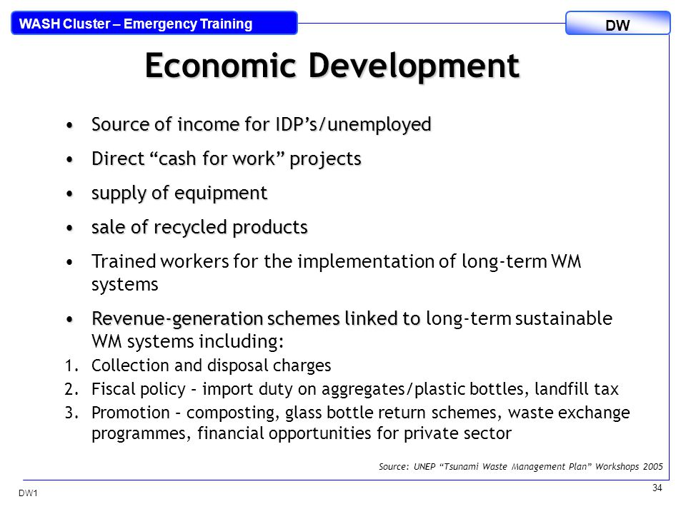 DW WASH Cluster – Emergency Training DW1 34 Economic Development Source of income for IDP's/unemployedSource of income for IDP's/unemployed Direct cash for work projectsDirect cash for work projects supply of equipmentsupply of equipment sale of recycled productssale of recycled products Trained workers for the implementation of long-term WM systems Revenue-generation schemes linked toRevenue-generation schemes linked to long-term sustainable WM systems including: 1.Collection and disposal charges 2.Fiscal policy – import duty on aggregates/plastic bottles, landfill tax 3.Promotion – composting, glass bottle return schemes, waste exchange programmes, financial opportunities for private sector Source: UNEP Tsunami Waste Management Plan Workshops 2005