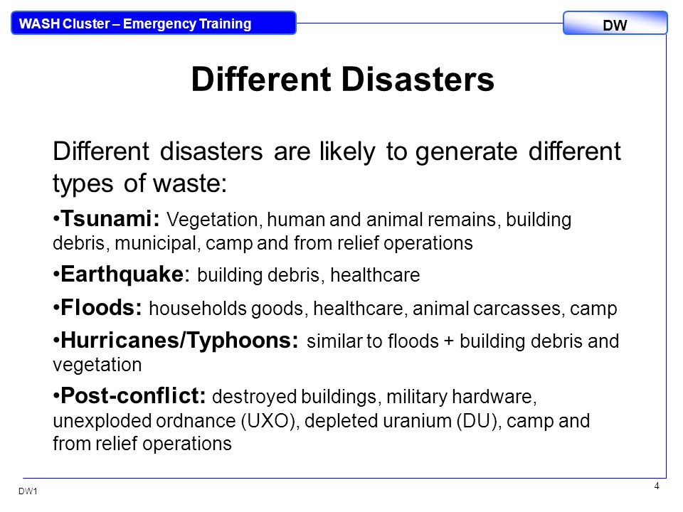 DW WASH Cluster – Emergency Training DW1 25 Impacts on Other Clusters Emergency Shelter Early Recovery Logistics Camp Coordination/Management Education Health Environment