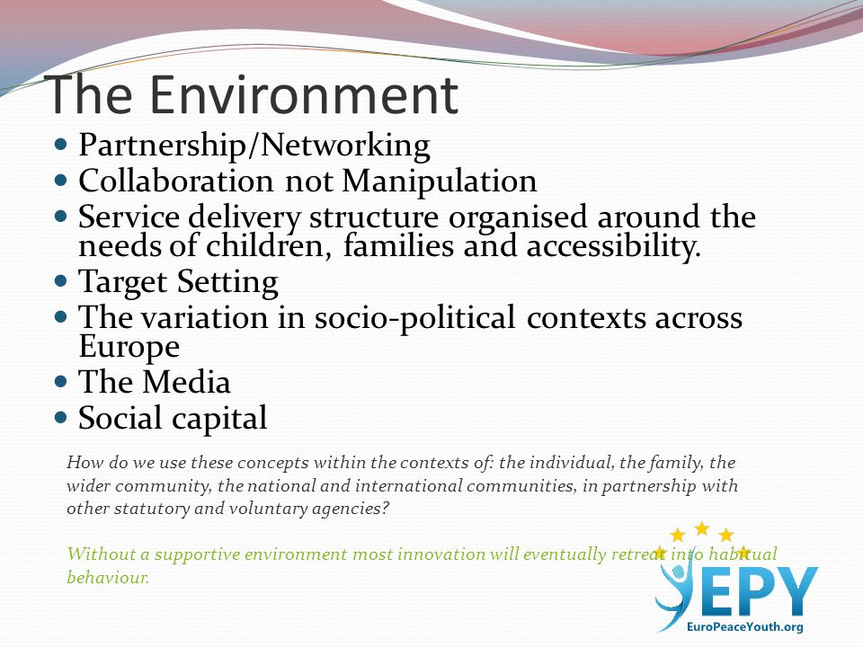 The Environment Partnership/Networking Collaboration not Manipulation Service delivery structure organised around the needs of children, families and accessibility.