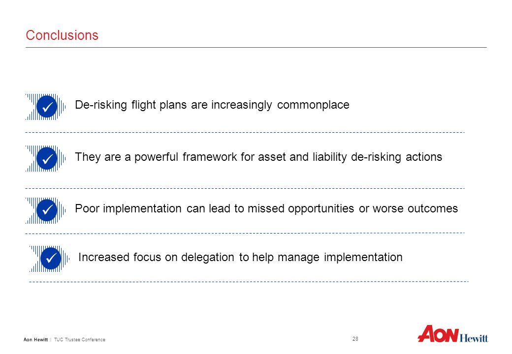 Aon Hewitt | TUC Trustee Conference 28 Conclusions De-risking flight plans are increasingly commonplace They are a powerful framework for asset and liability de-risking actions Poor implementation can lead to missed opportunities or worse outcomes Increased focus on delegation to help manage implementation