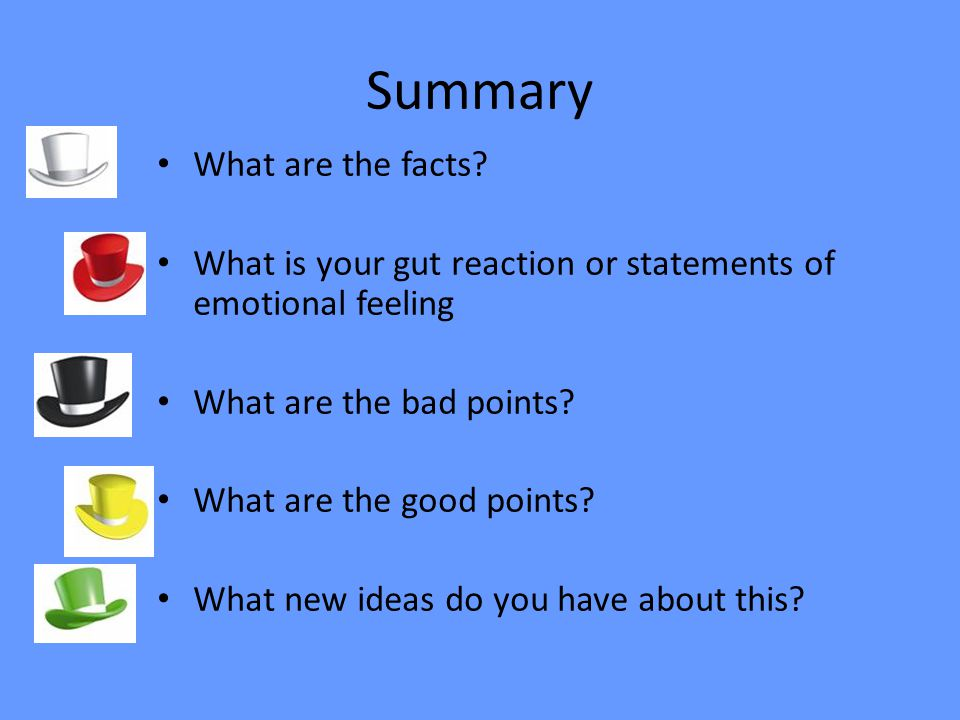 Summary What are the facts? What is your gut reaction or statements of emotional feeling What are the bad points? What are the good points? What new i