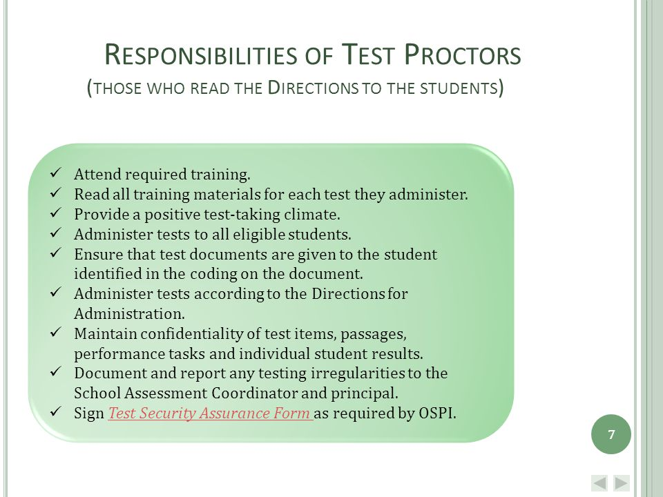 D URING TESTING Create a positive testing environment.