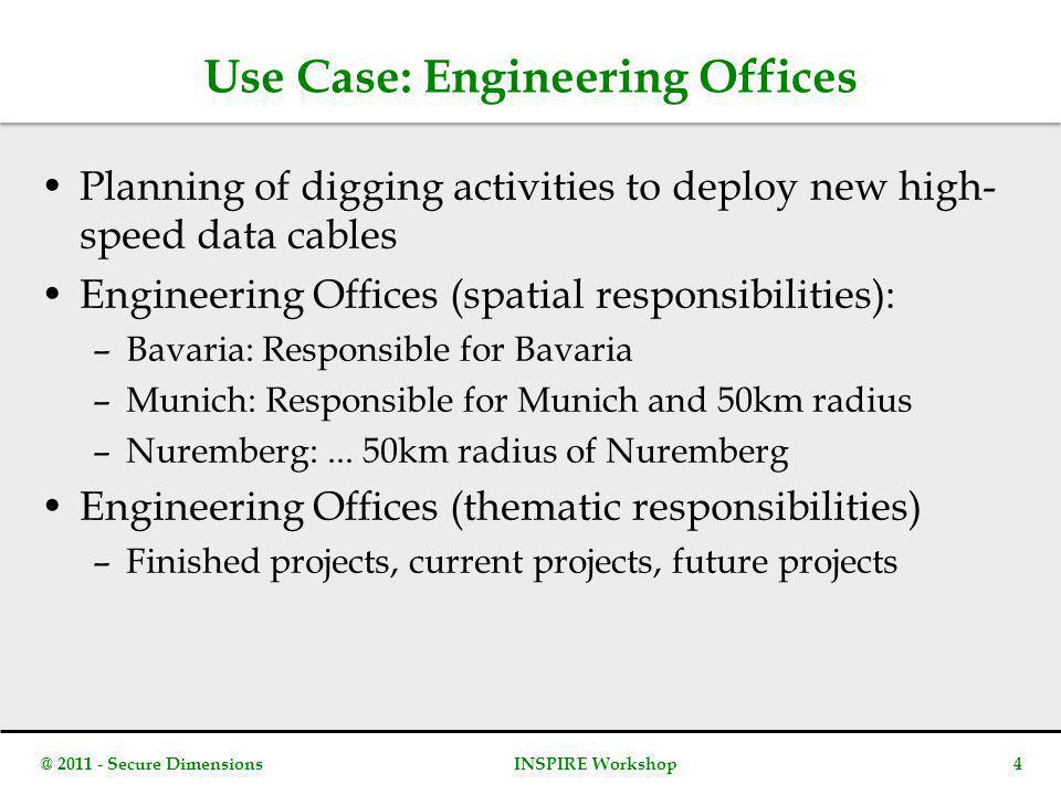 Use Case: Engineering Offices Planning of digging activities to deploy new high- speed data cables Engineering Offices (spatial responsibilities): –Bavaria: Responsible for Bavaria –Munich: Responsible for Munich and 50km radius –Nuremberg:...