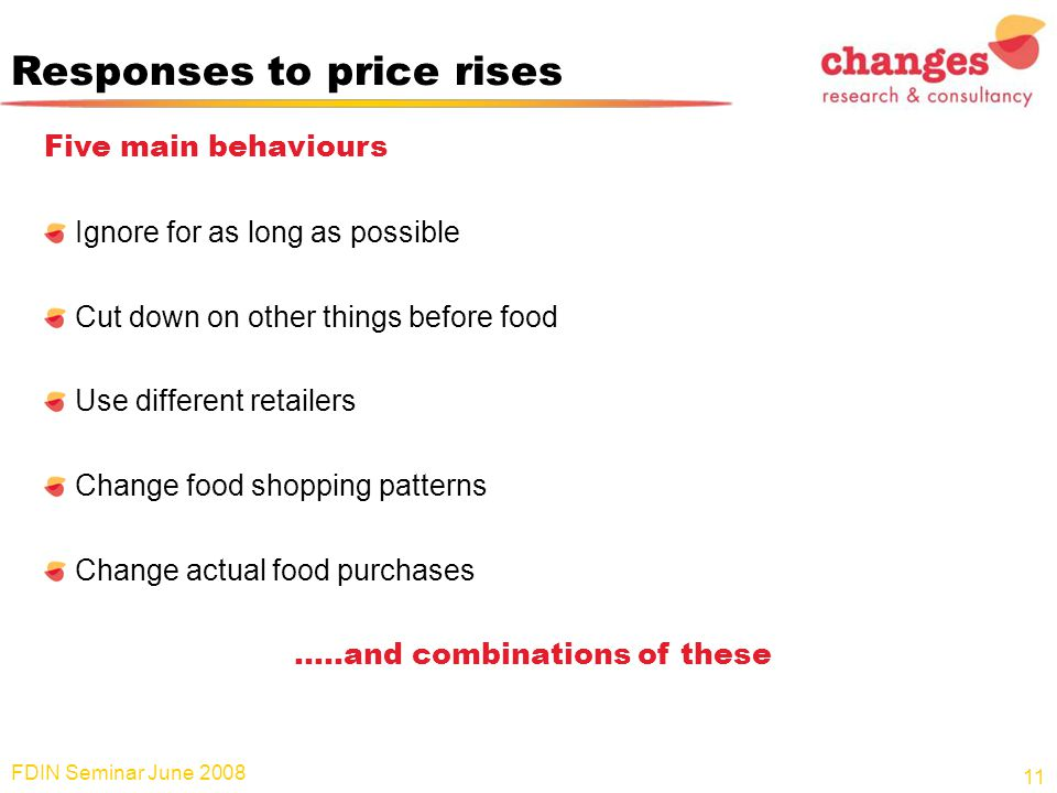 Responses to price rises Five main behaviours Ignore for as long as possible Cut down on other things before food Use different retailers Change food