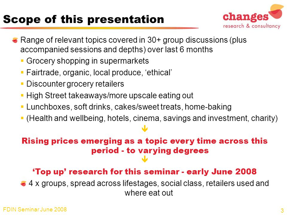Scope of this presentation Range of relevant topics covered in 30+ group discussions (plus accompanied sessions and depths) over last 6 months  Groce