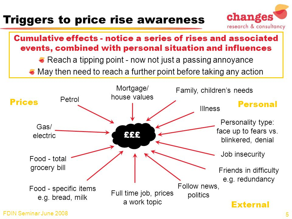 Triggers to price rise awareness Cumulative effects - notice a series of rises and associated events, combined with personal situation and influences Reach a tipping point - now not just a passing annoyance May then need to reach a further point before taking any action FDIN Seminar June 2008 5 Petrol Gas/ electric Food - total grocery bill Food - specific items e.g.
