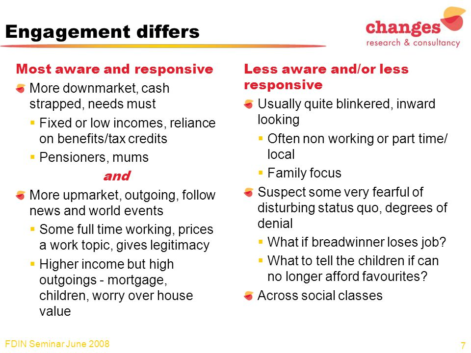 Engagement differs Most aware and responsive More downmarket, cash strapped, needs must  Fixed or low incomes, reliance on benefits/tax credits  Pen