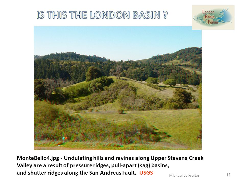 MonteBello4.jpg - Undulating hills and ravines along Upper Stevens Creek Valley are a result of pressure ridges, pull-apart (sag) basins, and shutter ridges along the San Andreas Fault.