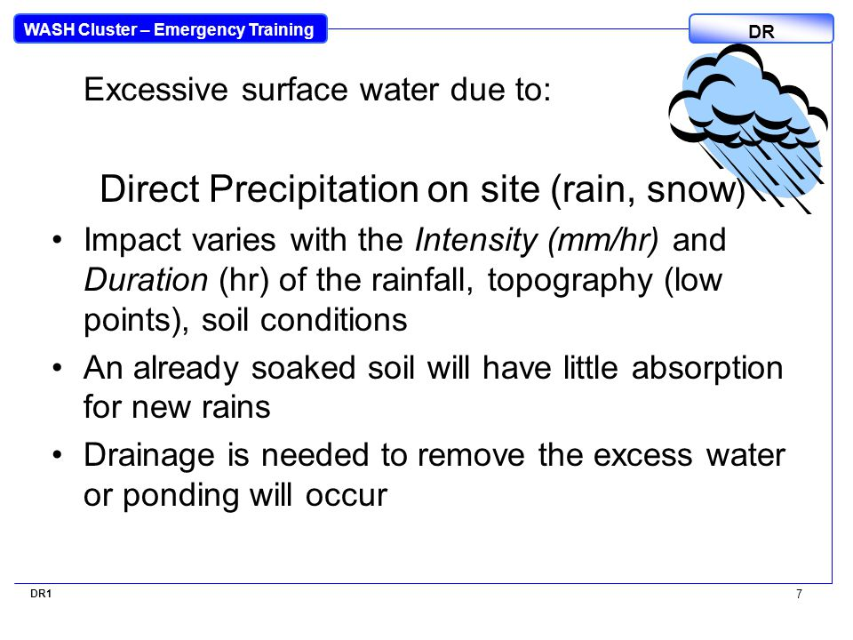 WASH Cluster – Emergency Training DR Excessive surface water due to: Direct Precipitation on site (rain, snow ) Impact varies with the Intensity (mm/hr) and Duration (hr) of the rainfall, topography (low points), soil conditions An already soaked soil will have little absorption for new rains Drainage is needed to remove the excess water or ponding will occur DR1 7