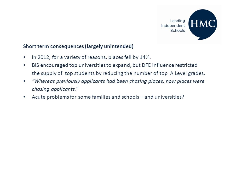 Short term consequences (largely unintended) In 2012, for a variety of reasons, places fell by 14%.