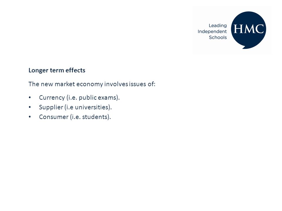 Longer term effects The new market economy involves issues of: Currency (i.e.