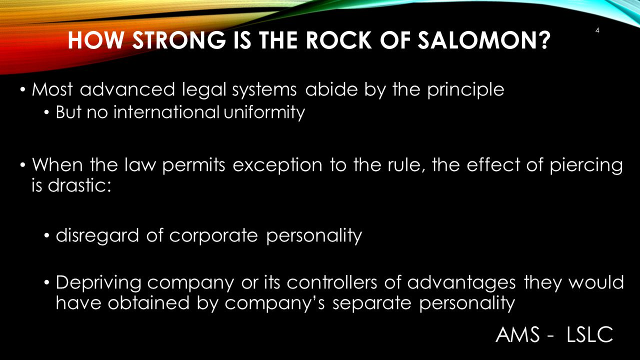 HOW STRONG IS THE ROCK OF SALOMON? Most advanced legal systems abide by the principle But no international uniformity When the law permits exception t