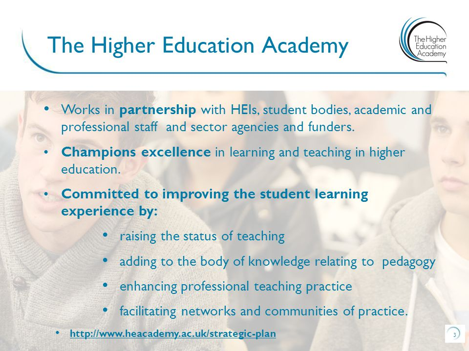 3 Works in partnership with HEIs, student bodies, academic and professional staff and sector agencies and funders.