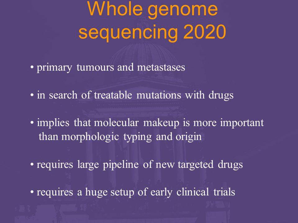 Whole genome sequencing 2020 primary tumours and metastases in search of treatable mutations with drugs implies that molecular makeup is more important than morphologic typing and origin requires large pipeline of new targeted drugs requires a huge setup of early clinical trials