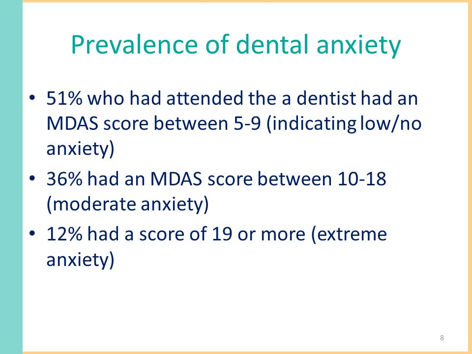Prevalence of dental anxiety 51% who had attended the a dentist had an MDAS score between 5-9 (indicating low/no anxiety) 36% had an MDAS score between 10-18 (moderate anxiety) 12% had a score of 19 or more (extreme anxiety) 8