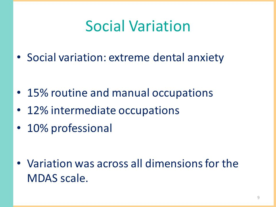 Social Variation Social variation: extreme dental anxiety 15% routine and manual occupations 12% intermediate occupations 10% professional Variation was across all dimensions for the MDAS scale.