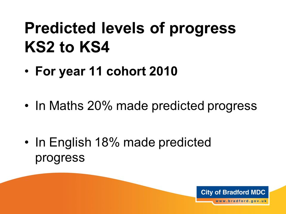 Predicted levels of progress KS2 to KS4 For year 11 cohort 2010 In Maths 20% made predicted progress In English 18% made predicted progress