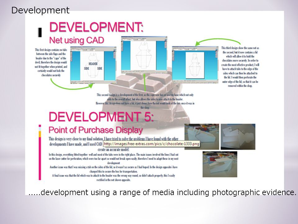 Development.....development using a range of media including photographic evidence.