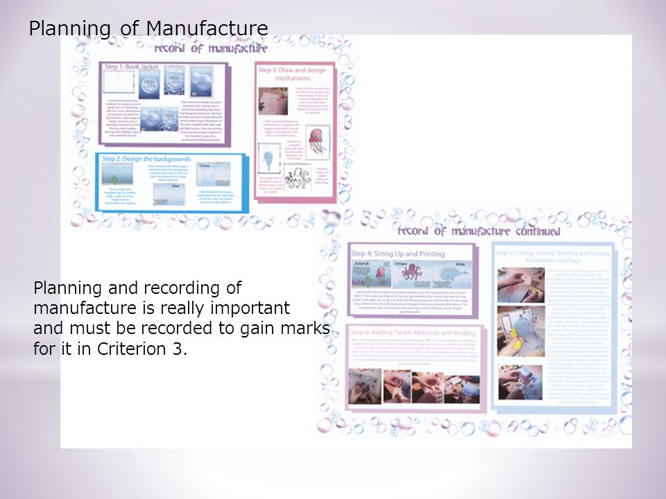 Planning and recording of manufacture is really important and must be recorded to gain marks for it in Criterion 3.