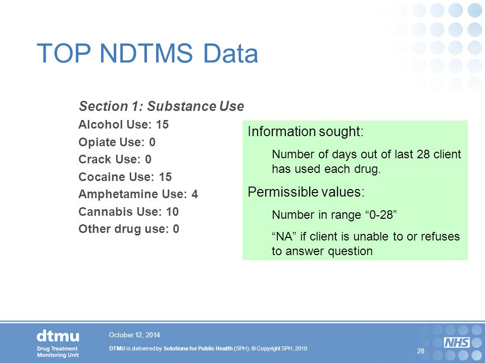 DTMU is delivered by Solutions for Public Health (SPH). © Copyright SPH, 2010 28 October 12, 2014 TOP NDTMS Data Section 1: Substance Use Alcohol Use: