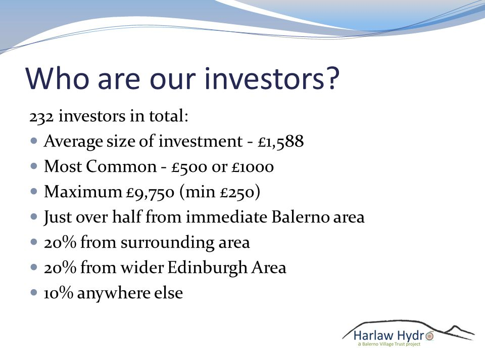 Who are our investors.