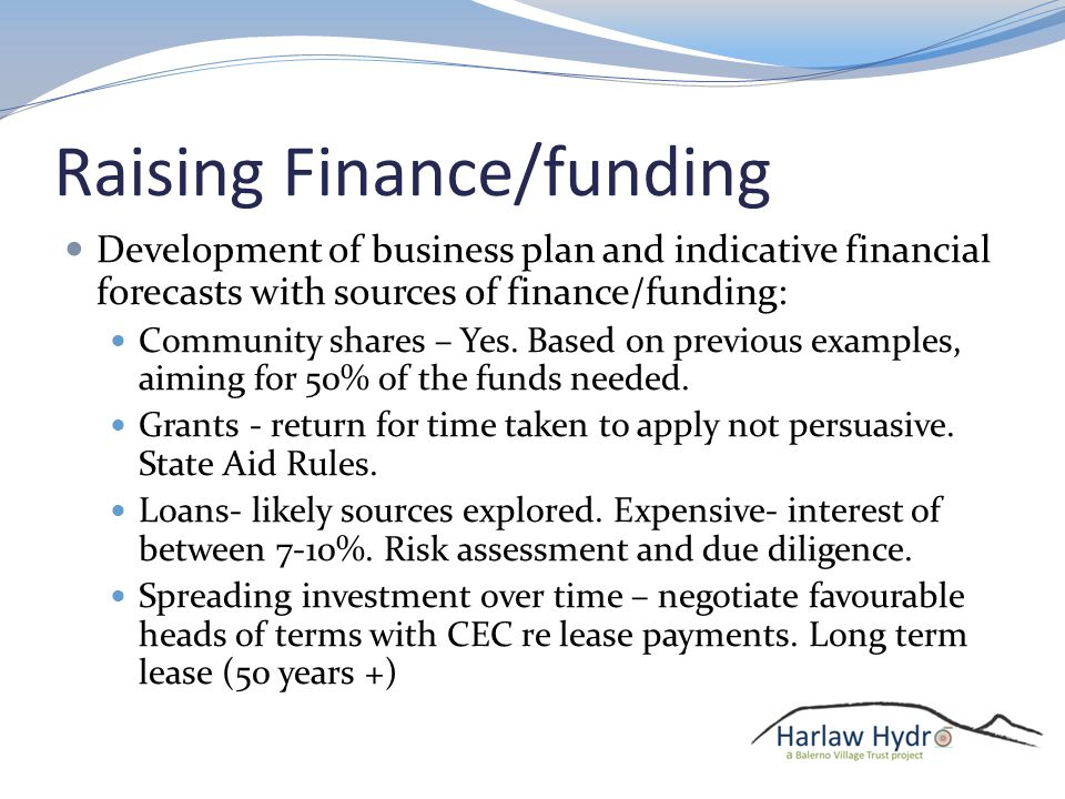 Raising Finance/funding Development of business plan and indicative financial forecasts with sources of finance/funding: Community shares – Yes.