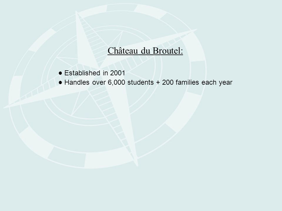 Château du Broutel: ● Established in 2001 ● Handles over 6,000 students + 200 families each year