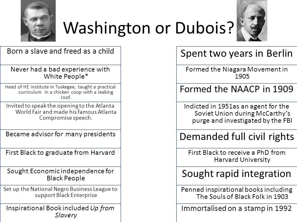 Eb Dubois And Booker T Washington Compare And Contrast Essay