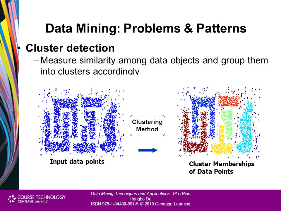 Data Mining Techniques and Applications, 1 st edition Hongbo Du ISBN 978-1-84480-891-5 © 2010 Cengage Learning Data Mining: Problems & Patterns Cluste