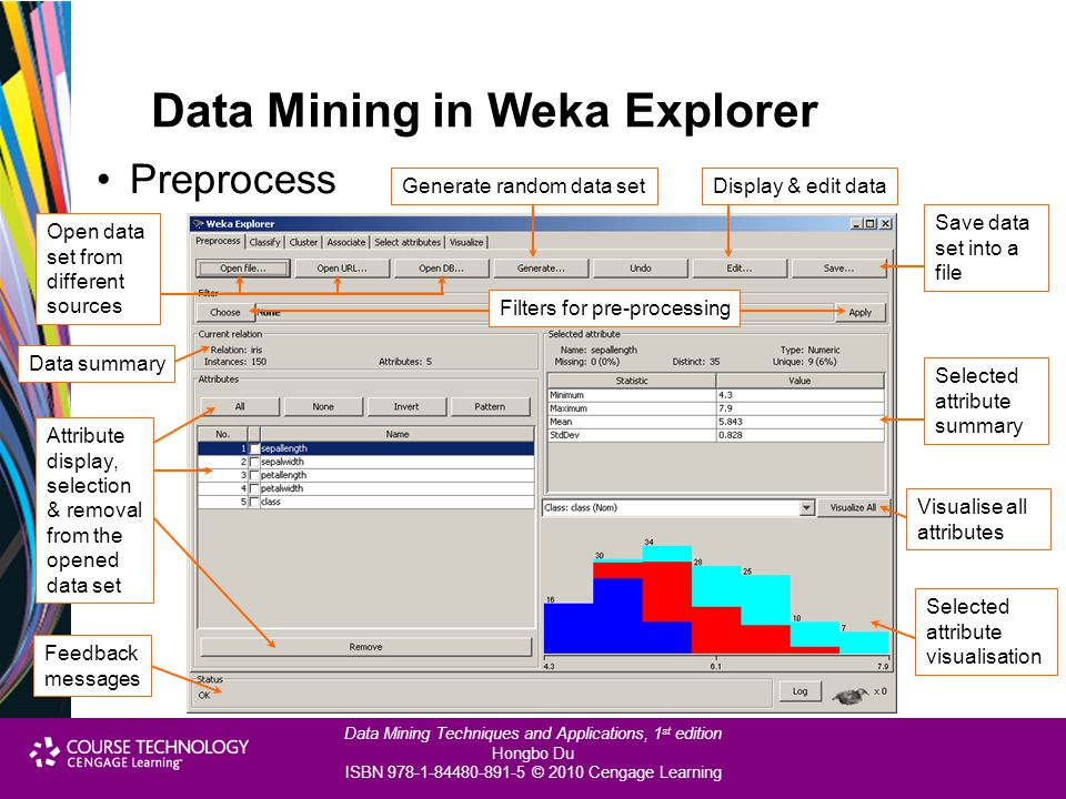Data Mining Techniques and Applications, 1 st edition Hongbo Du ISBN 978-1-84480-891-5 © 2010 Cengage Learning Data Mining in Weka Explorer Preprocess