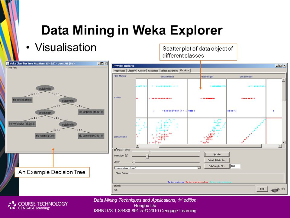 Data Mining Techniques and Applications, 1 st edition Hongbo Du ISBN 978-1-84480-891-5 © 2010 Cengage Learning Data Mining in Weka Explorer Visualisat