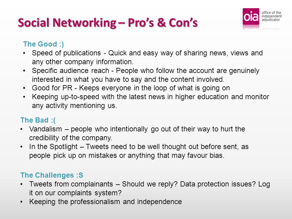 Social Networking – Looking ahead What is the future for the OIA and Social Media.