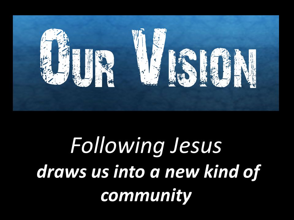 Following Jesus draws us into a new kind of community draws us into a new kind of community