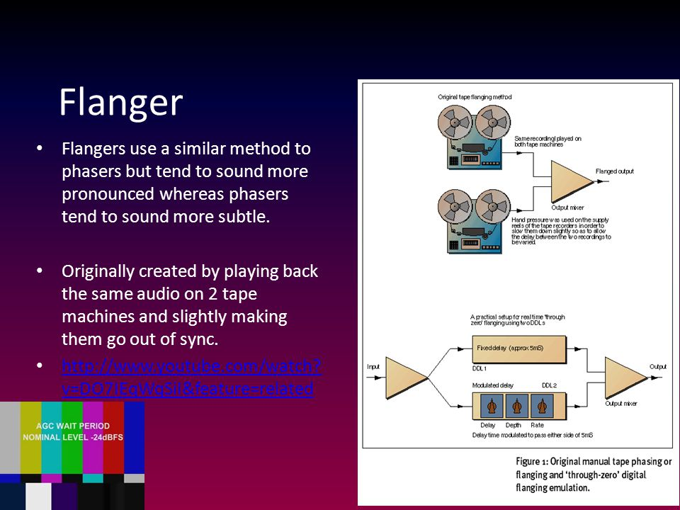 Flanger Flangers use a similar method to phasers but tend to sound more pronounced whereas phasers tend to sound more subtle. Originally created by pl
