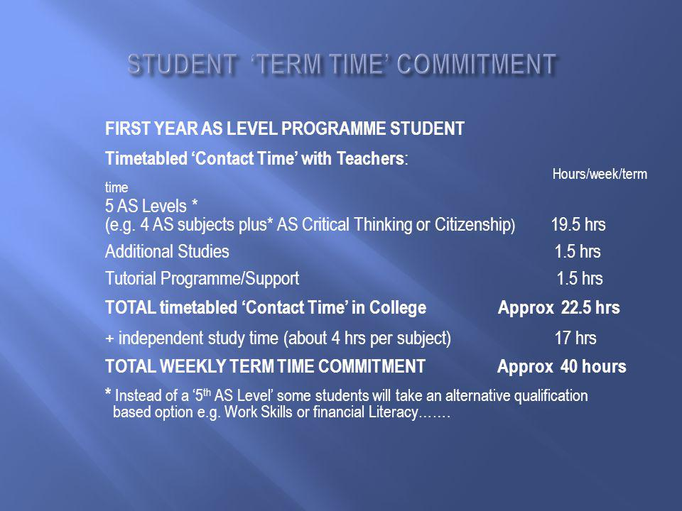 FIRST YEAR AS LEVEL PROGRAMME STUDENT Timetabled 'Contact Time' with Teachers : Hours/week/term time 5 AS Levels * (e.g.