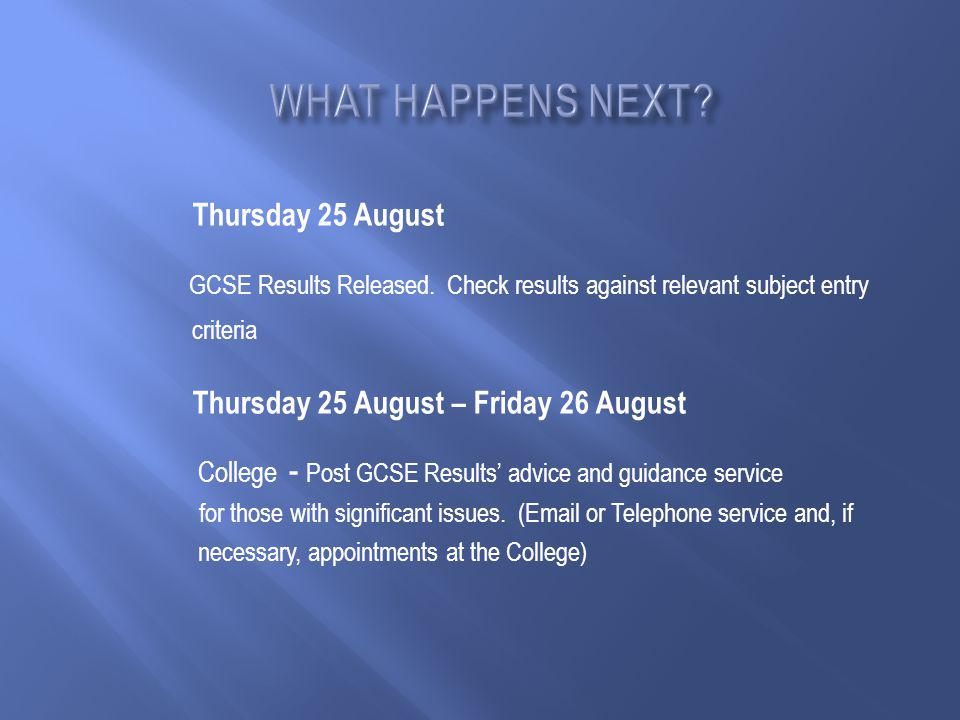 Thursday 25 August GCSE Results Released.