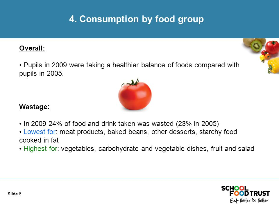 Slide 6 4. Consumption by food group Overall: Pupils in 2009 were taking a healthier balance of foods compared with pupils in 2005. Wastage: In 2009 2