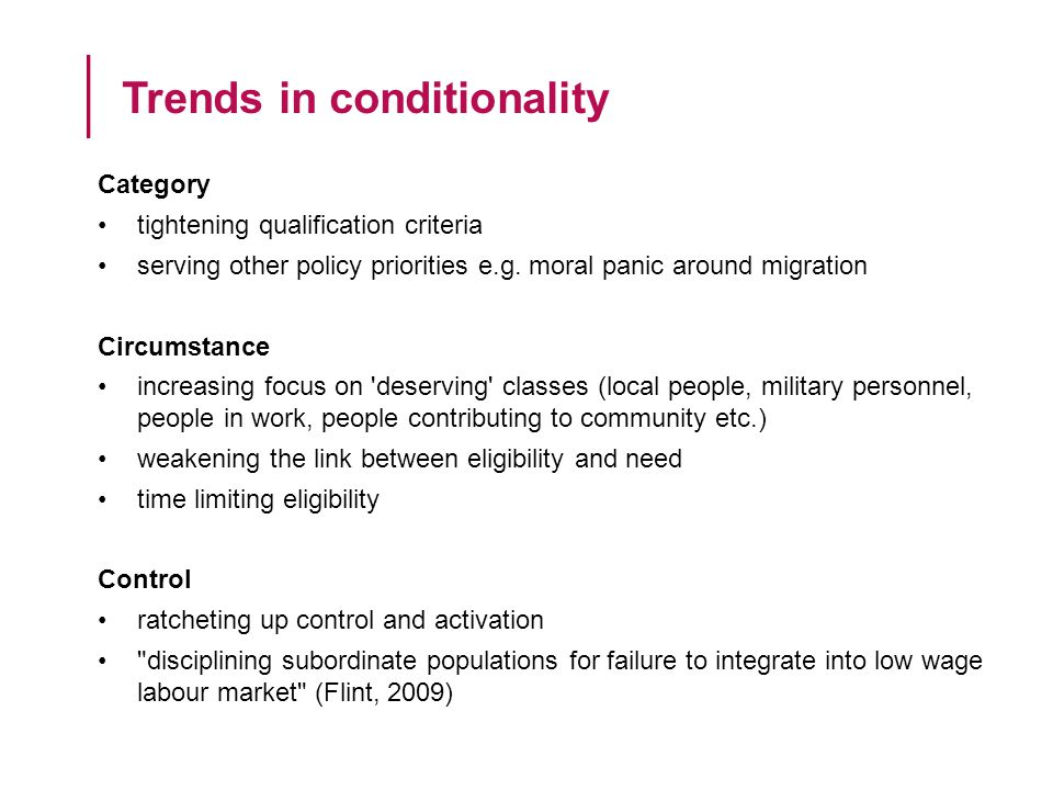 Category tightening qualification criteria serving other policy priorities e.g.