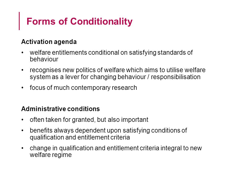 Level of Conditionality 1.Category2. Circumstance3.