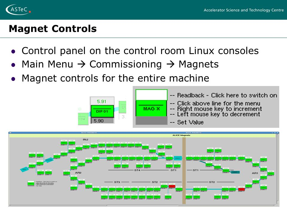 Magnet Controls Control panel on the control room Linux consoles Main Menu  Commissioning  Magnets Magnet controls for the entire machine