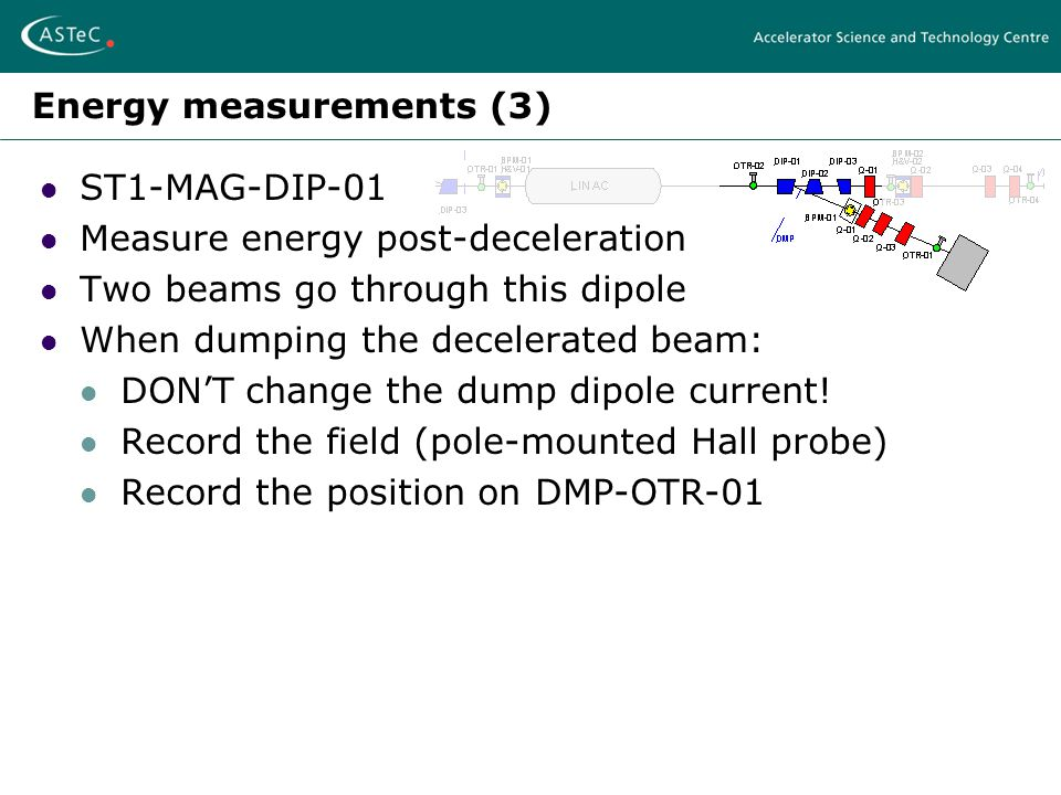 Energy measurements (3) ST1-MAG-DIP-01 Measure energy post-deceleration Two beams go through this dipole When dumping the decelerated beam: DON'T change the dump dipole current.
